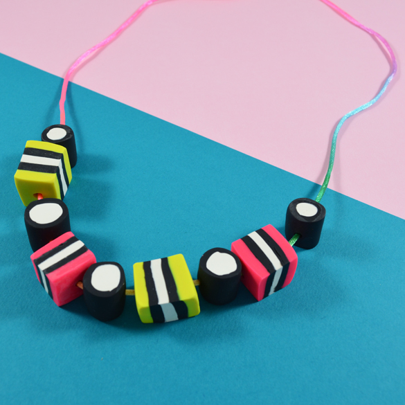 Make Your Own Diy Polymer Clay Licorice Allsorts Necklace