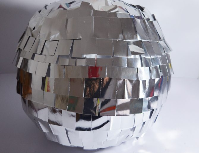 Disco Ball Decoration Or Pinata DIY Made From Cardboard And Silver Paper Enchanting Disco Ball Decorations Cheap